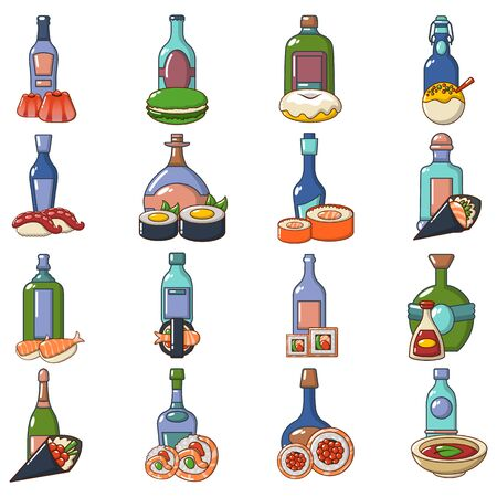 Japanese booze icons set. Cartoon set of 16 japanese booze vector icons for web isolated on white background