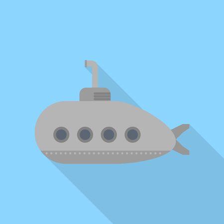 Grey submarine icon, flat style