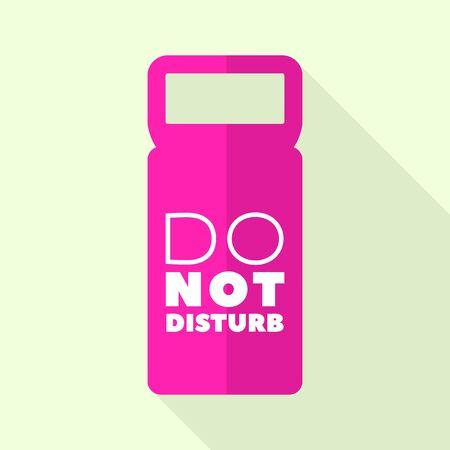 Icône d'étiquette de porte rose, style plat Vecteurs