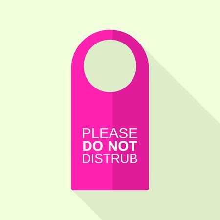 Pink door tag icon, flat style
