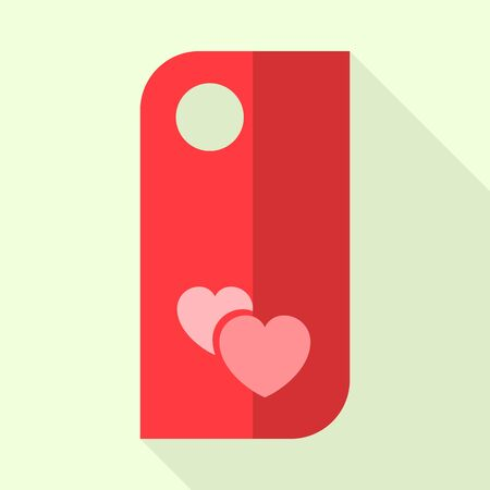 Love door tag icon, flat style
