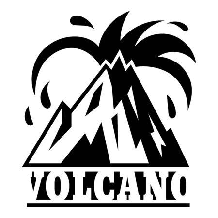 Island volcano logo, simple style