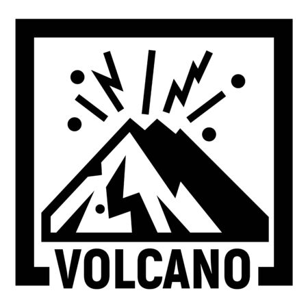 Volcano mountains logo, simple style