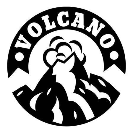 Volcano smoke logo, simple style