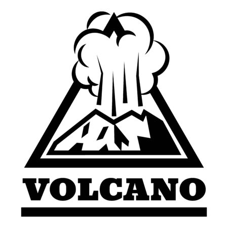 Exploding volcano logo, simple style