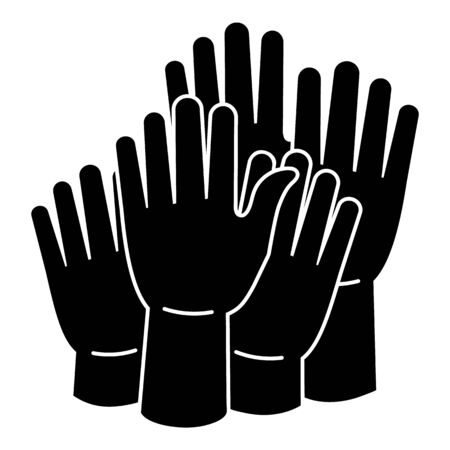 Hands cohesion icon, simple style Standard-Bild - 129338276