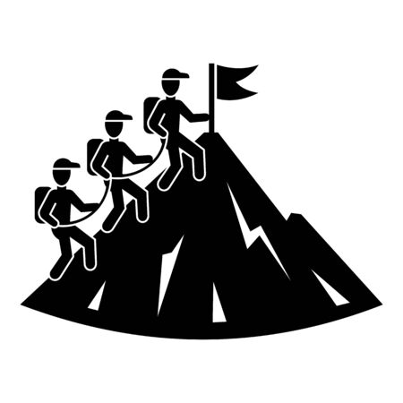 People group hiking icon, simple style