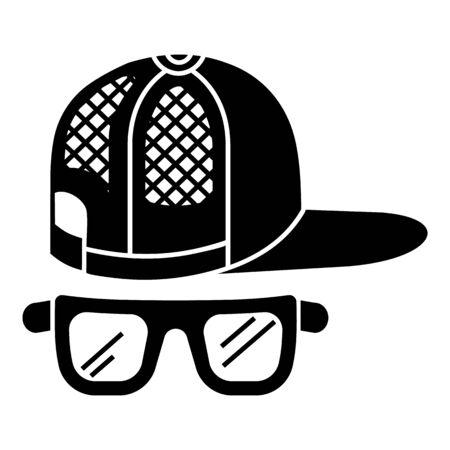Baseball cap glasses icon, simple style 矢量图像
