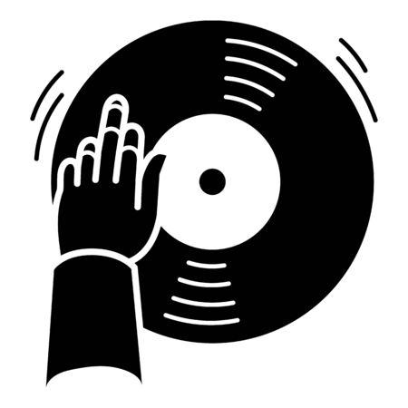 Dj hand vinyl disc icon, simple style