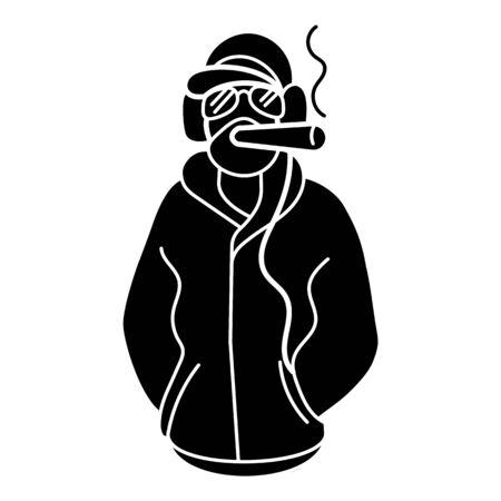 Rapper smoking icon, simple style Ilustração