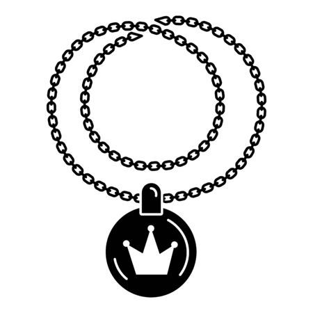 Rapper necklace icon, simple style
