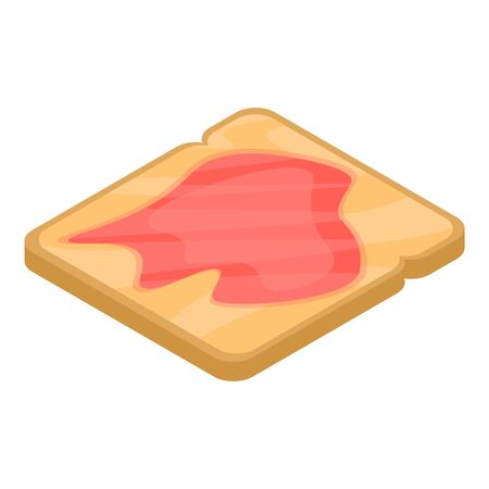 Toast red fish icon, isometric style
