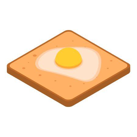 Toast fried egg icon, isometric style