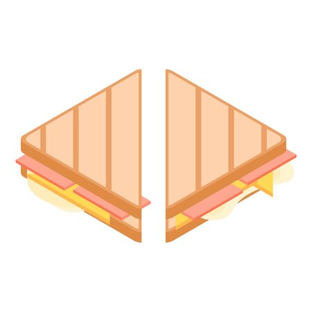 Breakfast sandwich icon, isometric style