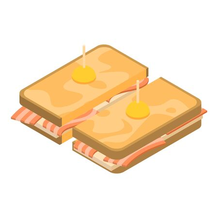 Cuted sandwich toast icon. Isometric of cuted sandwich toast vector icon for web design isolated on white background