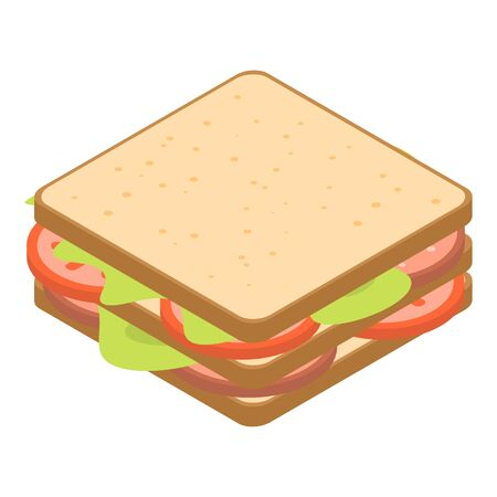 Tomato toast icon, isometric style Illustration