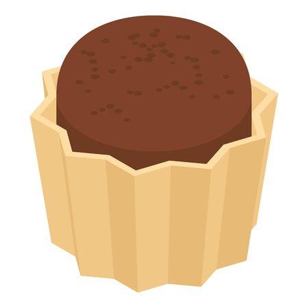 Cocoa cupcake icon, isometric style Illusztráció
