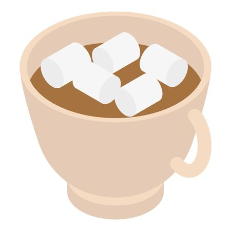 Cup cocoa marshmallow icon, isometric style