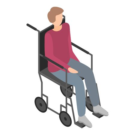 Boy in wheelchair icon, isometric style