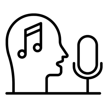 Head note microphone icon, outline style