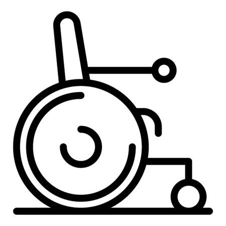 Wheelchair for military icon, outline style Ilustração