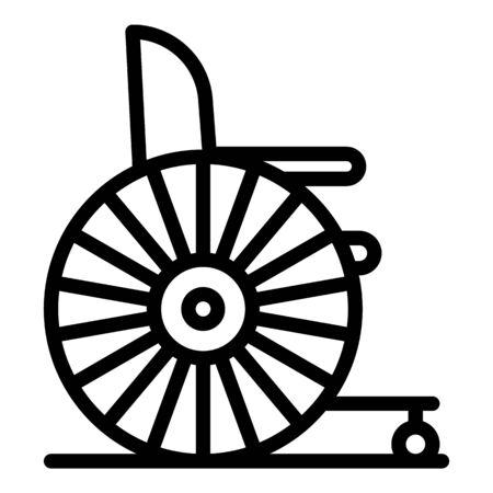Retro wheelchair icon, outline style