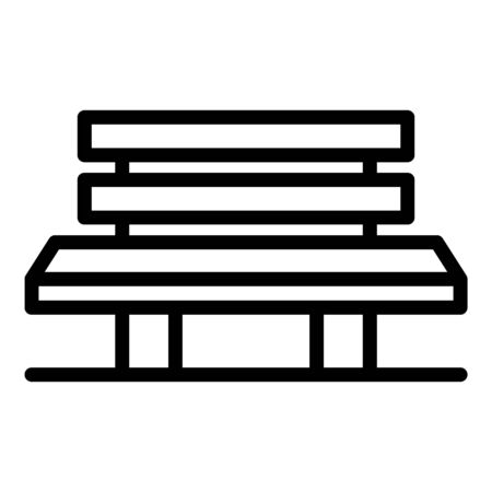 Long bench icon, outline style