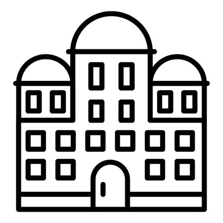 Temple building icon, outline style