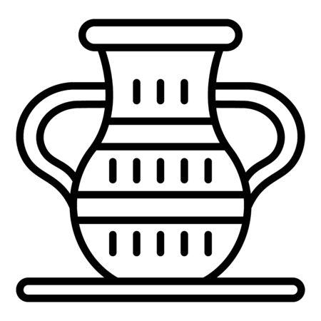 Ägyptische Vase-Symbol. Umreißen Sie das ägyptische Vasenvektorsymbol für das Webdesign, das auf weißem Hintergrund lokalisiert wird Vektorgrafik