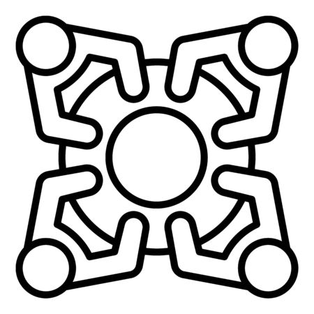 People at the round table icon, outline style