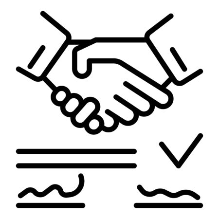 Contract signing icon, outline style Ilustração