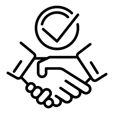 Handshake check icon, outline style