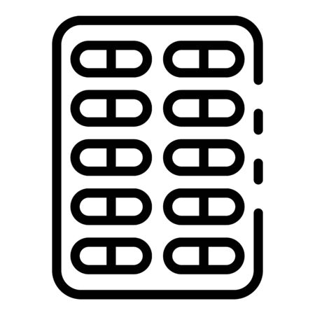 Blister with capsules icon, outline style