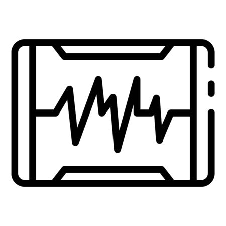 Heartbeat on the monitor icon. Outline heartbeat on the monitor vector icon for web design isolated on white background Illustration