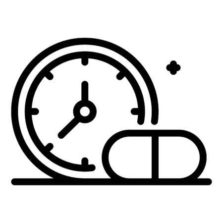 Medication time icon, outline style Stock Illustratie