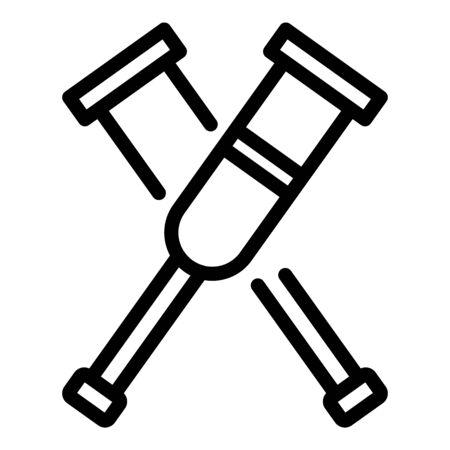 Crutches icon, outline style