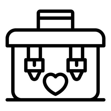Organ transplant box icon, outline style Ilustração