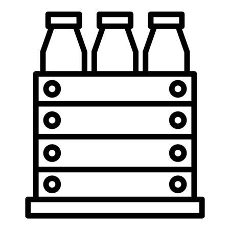Milk bottle box icon. Outline milk bottle box vector icon for web design isolated on white background