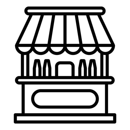 Milk stall icon. Outline milk stall vector icon for web design isolated on white background 向量圖像