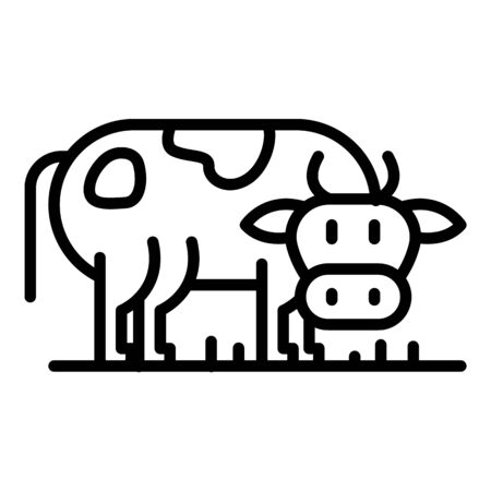 Cow side view icon. Outline cow side view vector icon for web design isolated on white background