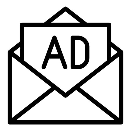 Open envelope advertising icon, outline style