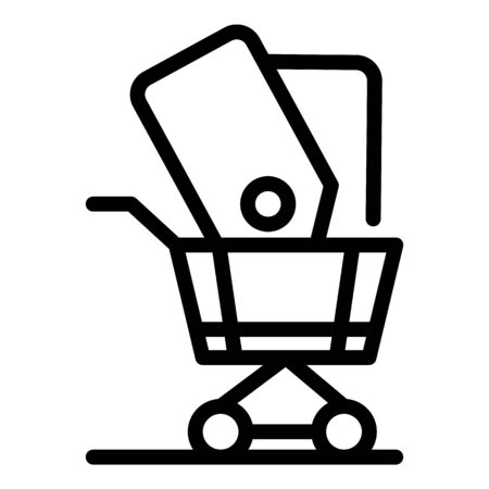 Labels in the basket icon, outline style