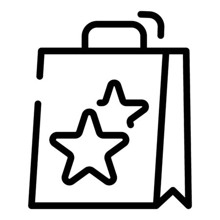Shopping bag with stars icon, outline style