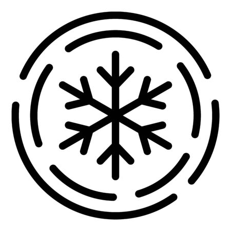 Snowflake in a circle icon, outline style