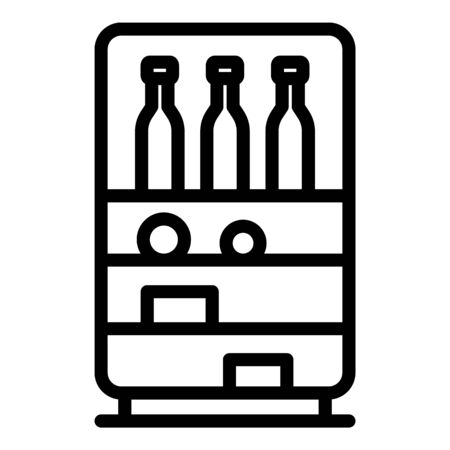 Drinks in the fridge icon. Outline drinks in the fridge vector icon for web design isolated on white background