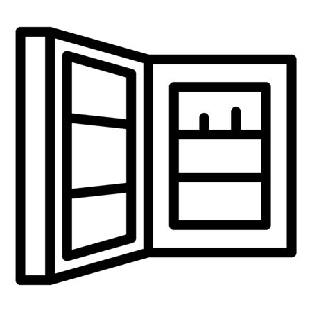 Open refrigerator door icon, outline style