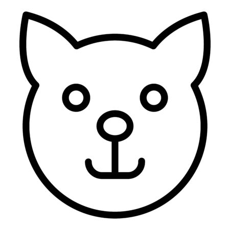 Cat head icon, outline style