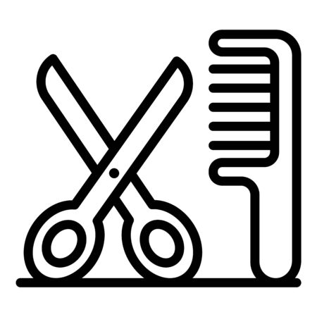 Scissors and comb icon, outline style