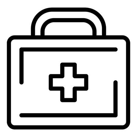 Suitcase with medicines icon, outline style Ilustração