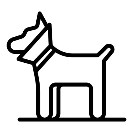 Dog with a neck brace icon, outline style